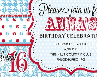 Birthday Invitation DIY Sweet Sixteen (Age and colors can be customized)