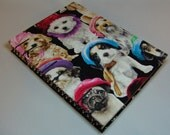 Handmade Fabric Journal - Coptic Stitched - Dogs with Hats - Medium