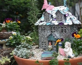 My Fairy World - Digital Download - Fairy Garden Cottage House Image with Pansies and Butterflies
