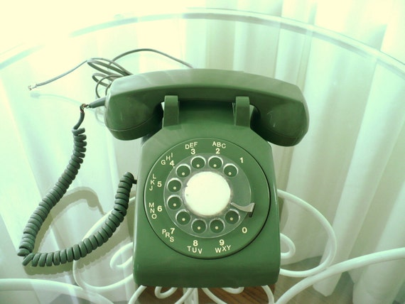Vintage Working Rotary Telephone Circa 70s to 80s Olive Green Gift for Him Classic Home Decor Photography Prop