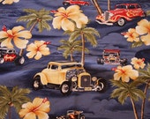 Hawaiian print fabric with vintage cars sold by the yard