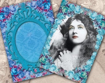 Vintage Women Digital Collage Sheet Rococo Frames and Roses No.11