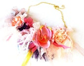 Colorful Floral fabric Necklace with lace and fabric flowers in pink, ivory, purple tones