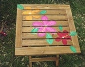 Hand Painted Tropical Hibiscus Flower Adirondack Folding Table