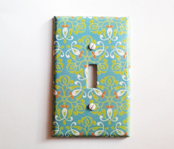 Light Switchplate, Switch Plate- Turquoise Orange Aqua