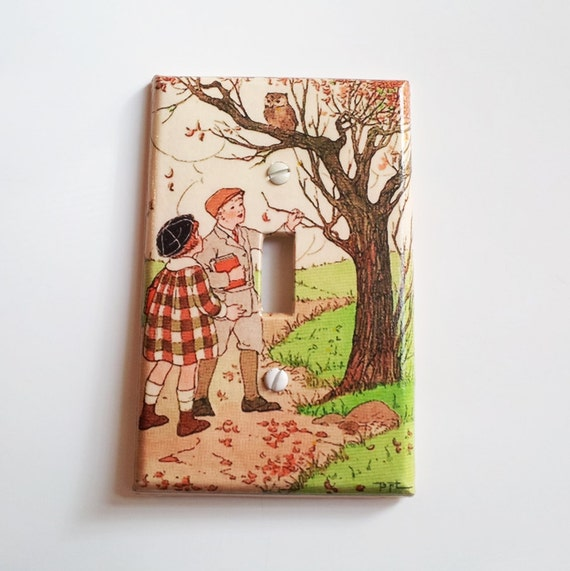 Light Switchplate, Switch Plate- Vintage Kids Scene