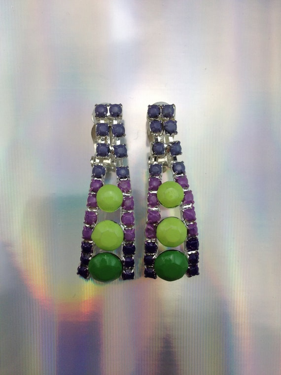 Clearance  SALE - Neon lime, neon earrings in shades of green and purple, ombre fun.