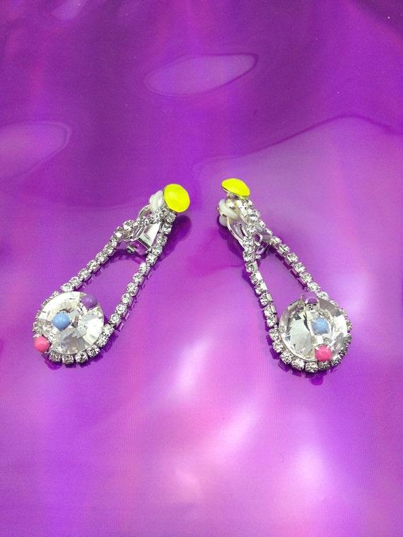 SALE - Digital  teardrop, rhinestone earrings in blue, pink, purple and neon yellow