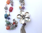 Floral Necklace - Summer rainbow agate and glass beads necklace with big flower pendant