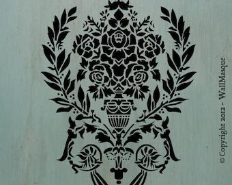 "Rose&Laurel (11"" x 7.72"") - Vintage looking stencil"