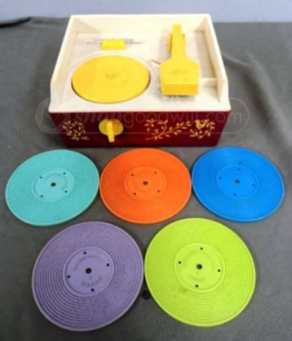 Vintage Fisher Price Record Player with all five records