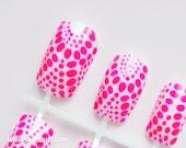 """Supa Nails """"Tiedye: Neon Pink"""" 12 Fase Nails"""