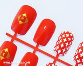 "Supa Nails ""Tweed Chic: Red"" 12 Nails"