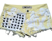 Yellow Bleached Splashed Studded Shorts