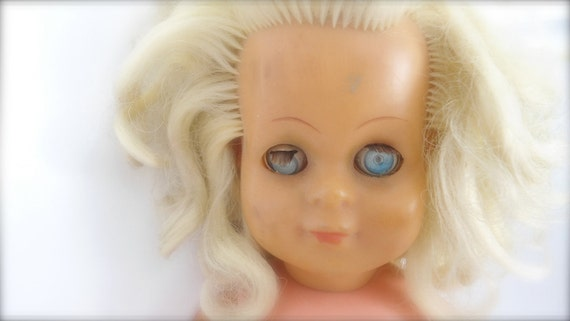 vintage doll, 60s- blond curly hair-blue eyes , nude, toy-home decor- doll sellection-girl gift-christmas