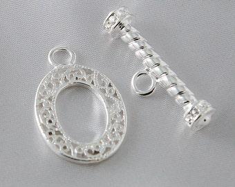 2 sets - 27mm Ornate Silver Filigree Toggle