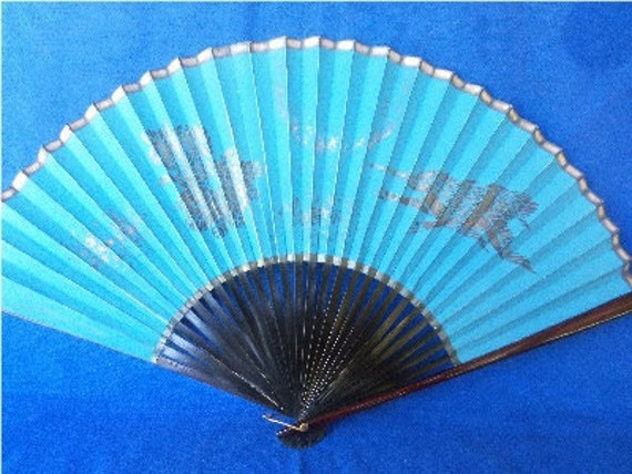 Antique Vintage Blue and Black Hand Fan With Birds and Flowers