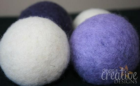 Lilac and Eggplant Wool Dryer Balls - Set of 4 Dryer Balls