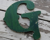 Custom Distressed Capital Letter G Green Wood Wooden Aged Antique Rustic Old Western Wedding Decor