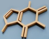Wood Caffeine Molecule Wall Hanging Chemistry Geek Coffee Addict Abstract Gift