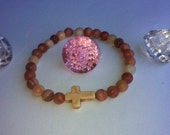 Rustic white cross howlite stone bracelet