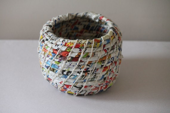 Upcycled Waste Paper Basket: Junk Mail / Coiled / Medium