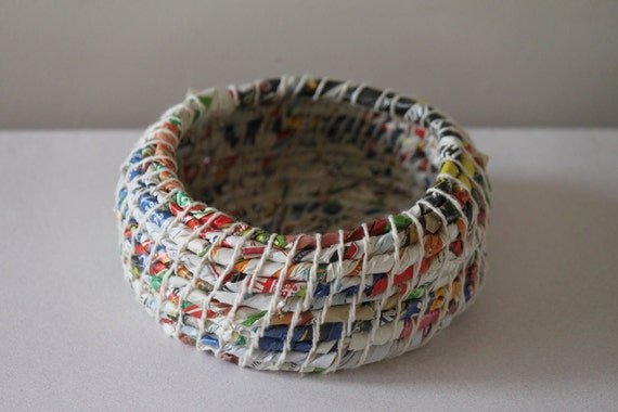 Upcycled Paper Baskets: Junk Mail / Coiled / Small