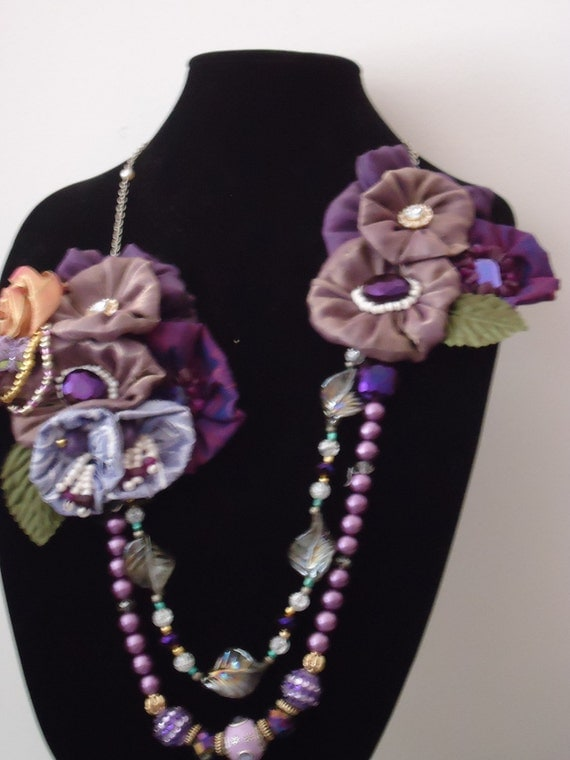 "A ooak necklace ....""Shades of purple"""