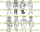 Edwardian Boys Black and White Spot Illustrations Instant Digital Download