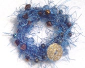 Periwinkle Blue Crocheted Beaded Wrap Bracelet or Necklace for the Beach, Jeans, Hippie Look