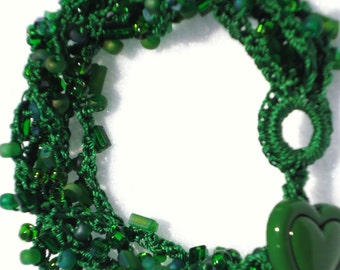 Grass Green Colored Bracelet Crocheted of Glass Beads