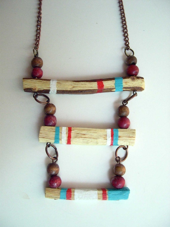 Hand Carved & Painted Wood Necklace