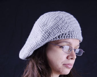 Grey Beret Hat Cap Beanie crochet