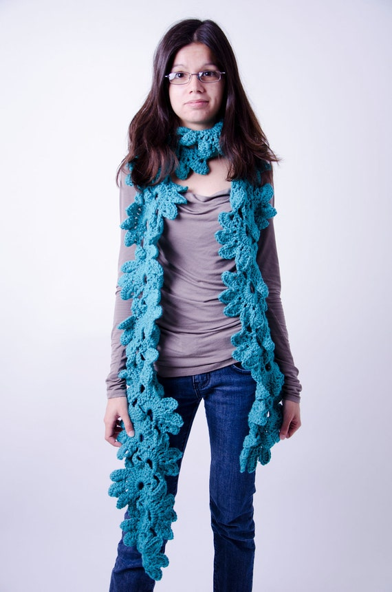 Green blue floral scarf and beretunique handmade blue crochet