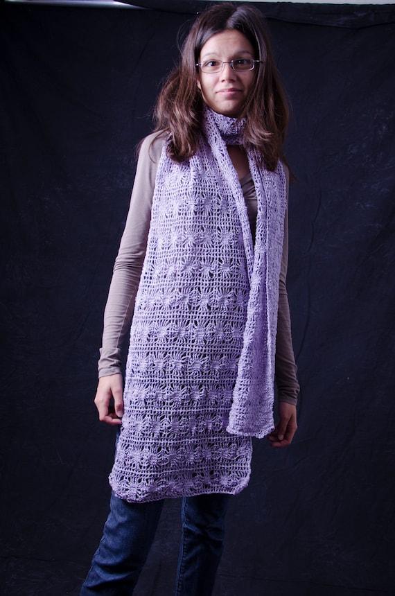 Purple Summer Large Scarf  unique handmade - cotton and viscose crochet
