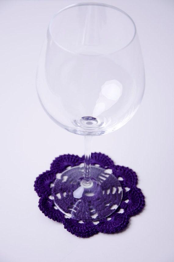 Purple cotton napkin handmade unique crochet