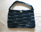Blue Crocheted Purse with Vintage Button