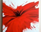 Red Flower Splat Canvas
