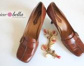 50% OFF SALE - Enzo Angiolini Vintage Designer Heels/Pumps - Rusty Brown - Size 10