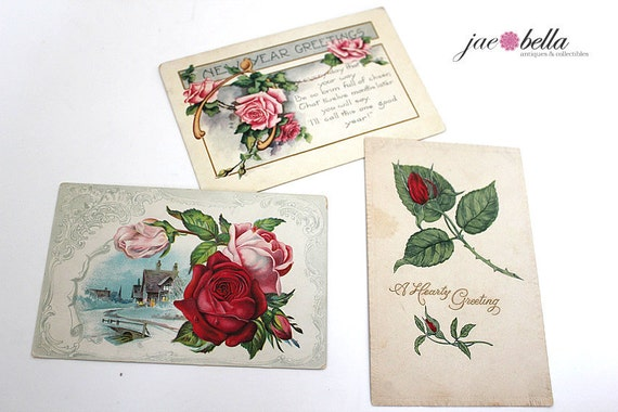 Antique VICTORIAN Post Cards Lot of 3 - Unwritten Cards - 1800s - Floral Designs Flowers