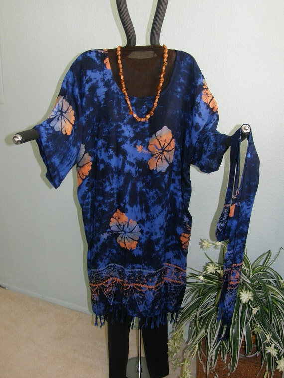 HAWAIIAN PLUS SIZE Dress in Blue with Hybidcus