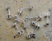 10pcs Silver Plated 4mm Half Ball Loop Earstud with Nuts