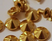 50% Summer Sale gold 9 mm cone Spikes Studs Leathercraft DIY Goth Punk Spots 50pcs