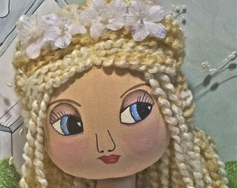 Handmade Cloth Art Doll - Chloe the Bride
