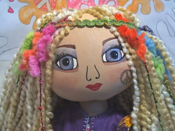 Handmade Cloth Art Doll - Amberley the Hippie