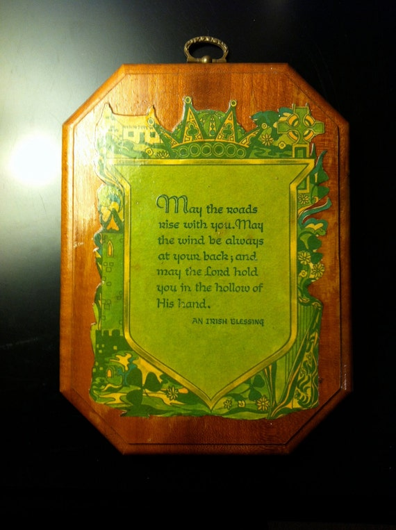 Retro Vintage Wooden Wall Plaque An Irish Blessing decoration