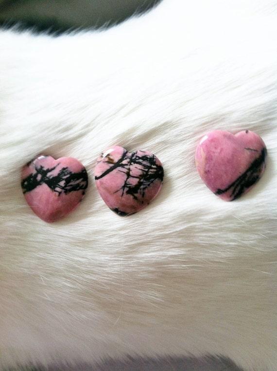Pink and Black Australian Rhodonite Heart Cabochons Pendants