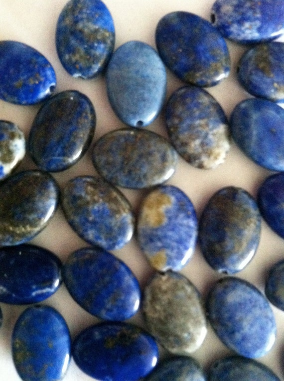 Clearance Reduced Price Genuine Afghanistan Lapis Lazuli Oval Shaped Beads
