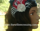 custom for Ruth -Red, Black and Ivory Feather Hair Clip