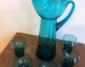 1970s - 80s Water Set - Pitcher & 5 Glasses